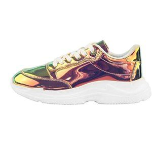 Chunky Dad Metallic Sequin PU Laced Casual Sneaker
